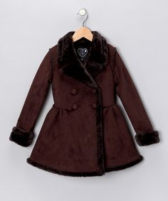 Take a look at this Chocolate Faux Shearling Coat - Toddler & Girls by Black Rivet & Love, Lilah on #zulily today!