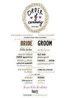 Typographic wedding program by verna
