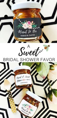 I love the idea of giving personalized jars of honey for wedding or bridal shower favors. A sweet gift with a personal touch. #ad #wedding #weddingfavors #bridalshowerfavors #honey