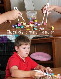 Therapy Fun Zone: Chopsticks to Refine Fine Motor Skills. Pinned by SOS Inc. Resources. Follow all our boards at pinterest.com/sostherapy/ for therapy resources.
