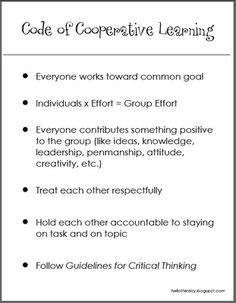 Code of Cooperative Learning pdf by Jennifer Jones @ helloliteracy.blogspot.com