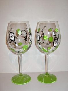 paint your own tennis wine glasses