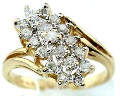 Cocktail ROUND BRILLIANT 10k Y. Gold 1.00ct Diamond Anniversary Ring sz 7 B41 #Cocktail