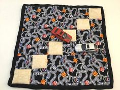 Route 66 Play Mat, Mini Quilt, Table Topper, Table Runner, Place Mat, Kid Decor, Highway theme, Road Signs, Floor Mat, Playroom, Matchbox Handmade Crafts, Etsy Handmade, Handmade Items, Quilted Table Toppers, Gold Pattern, Mini Quilts, Hot Pads, Kids Decor, Sell On Etsy