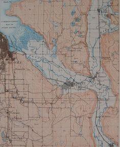 1908 Antique Map: Puyallup & Stuck Rivers, Puget Sound, Sumner, Alderton, Tacoma Washington, WA. Original Lithograph. Over 100 years Old.