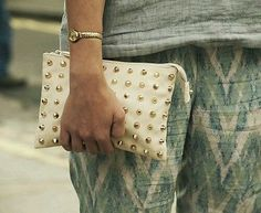 Zara gold studded clutch bag purse tasche sac nieten faux leather new sold out