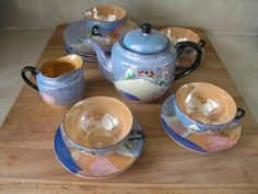 Vintage Japanese Lustreware Hand Painted Tea Set. 17 by catbedoven, $50.00