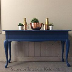 Sofa table chalk painted makeover using Superior Paint Co. Sapphire Skies. Professional Furniture Refinishing Services by Superior Interiors Kelowna