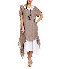 Taupe & Linen Layered Dress & Necklace