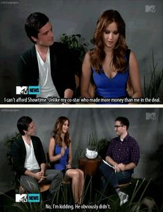 another Hunger Games MTV interview still. this was another one of my favorite moments. Jen is such a goof Hunger Games Cast, Hunger Games Humor, Hunger Games Catching Fire, Hunger Games Trilogy, Josh And Jennifer, Jennifer Laurence, Jennifer Lawrence Funny, Josh Hutcherson, Mockingjay