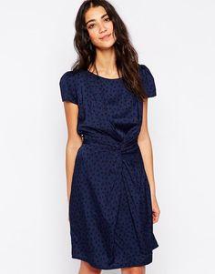 Yumi | Yumi Twist Front Dress in Mini Cat Print at ASOS