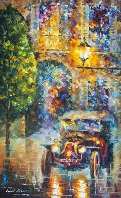 Title: Vintage Car 2 Size: 24 x 40 inches (60cm x 100cm) Gallery Estimated Value: $ 25,000 Type: Original Oil Painting on Canvas by Palette Knife by Leonid Afremov This is an original one of a kind oil painting Here you are buying directly from the artist. Signed by the artist,