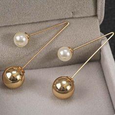 Pair of Stylish Faux Pearl Ball Shape Earrings For Women