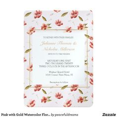 Pink with Gold Watercolor Floral Garden Wedding 5x7 Paper Invitation Card