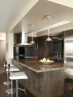 Exclusive Residence Design: Century Tower Residence : Sleek Contemporary Kitchen With Upholstered Bar Stools Century Towers Residence