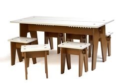 Studio Taschide - The table and stool can be assembled without glue and screws. All the pieces are cut by a cnc-router machine. A traditional wood joint makes it easy to put the furniture together and apart. Material: MDF