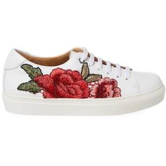 Floral-Embroidery Leather Sneaker ❤ liked on Polyvore featuring shoes, sneakers, round cap, synthetic leather shoes, low top, pointed-toe sneakers and leather shoes