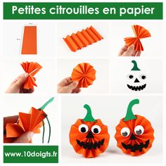Small paper pumpkins - Children's activities - claire vallée Petites citrouilles en papier – Activités enfantines For Halloween, create pretty little paper pumpkins to hang. An easy activity, a result that will give the (! Halloween Kita, Theme Halloween, Halloween Paper Crafts, Halloween Garland, Halloween Crafts For Toddlers, Diy Halloween Decorations, Adornos Halloween, Manualidades Halloween, Pumpkin Crafts