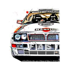 Italian classic rally racing car - Car Drawing - T-Shirt | TeePublic