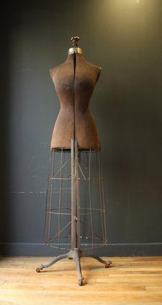 antique dress forms | Antique Victorian Dress Form with Metal Cage | Vintage Dress Forms ...