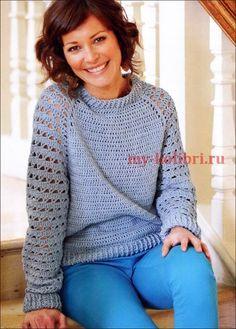 Как связать пуловер крючком для начинающих с рукавом реглан: описание вязания на Колибри. Ажурный пуловер крючком вам 100% понравится!