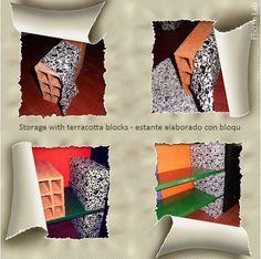 Storage with terracotta blocks - estante elaborado con bloques huecos.