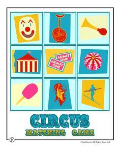 Circus Crafts Circus Matching Game FREE Printable