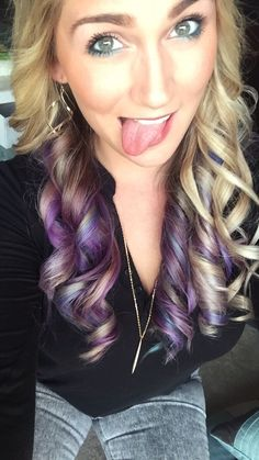 Purple blue pink teal peekaboo highlights ombre on blonde hair