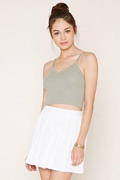 Crochet-Trimmed Mini Skirt