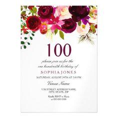 90th Birthday Invite Elegant Plum Purple Rose Magnetic Card