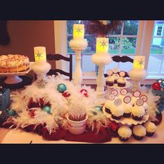 Winter birthday party dessert table from Natalie Grant's album