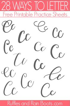 Here is a ton of ways to letter C with a free hand lettering practice set. Learn new modern calligraphy and brush lettering styles to keep practice fun! Hand Lettering Practice, Hand Lettering Alphabet, Calligraphy Practice, Calligraphy Fonts, Script Fonts, Lettering Styles, Brush Lettering, Letter C Tattoo, Hand Lettering Tutorial