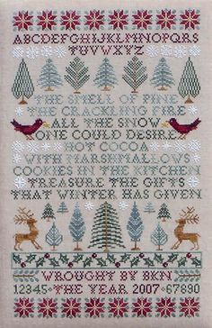 Poinsettias and Pines ~ counted cross stitch sampler, Christmas or winter theme, pattern $10   from Blue Ribbon Designs