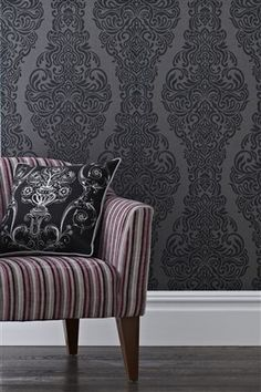 Buy Black Damask Wallpaper from the Next UK online shop