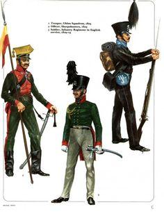 Ducato di Brunswick - Lanciere, Squadrone Ulani, 1809 - 2) Ufficiale, Tiratori scelti, 1809 - 3) Soldato, Reggimento Fanteria al servizio britannico, 1809-15