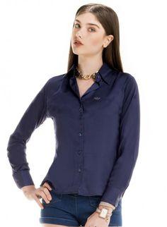 camisa feminina cetim azul principessa laiza look botao