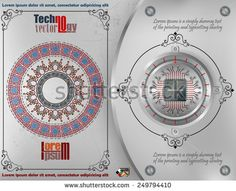 Processor Chip on circular metallic device nailed on steel board with screws; ornamental arabesques frames and arabesque rosette on scratched metallic background. Technology Background, Abstract Images, Arabesque, Lorem Ipsum, Vectors, Frames, Royalty Free Stock Photos, Metallic, Illustrations