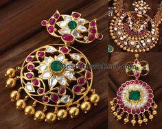 Kundan Pendants with Rubies and Diamonds - Jewellery Designs