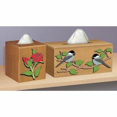 """Decorative Tissue Box Covers  DIY Woodcraft Pattern #2366 - What a beautiful way to hide your tissue boxes. Covers standard vertical and horizontal boxes. Approx. sizes: 5"""" x 5"""" x 5-1/2"""" and 5"""" x 10-1/2"""" x 5"""". Pattern by Sherwood Creations #woodworking #woodcrafts #pattern #craft #tissue #box #covers"""