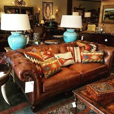 Beautiful Hancock & Moore sofa with bright accent pillows! Beautiful Hancock & Moore sofa with bright accent pillows! Beautiful Hancock & Moore sofa with . Southwestern Home, Southwest Decor, Southwestern Decorating, Southwest Style, Western Bedroom Decor, Western Living Rooms, Western Bedding, Rustic Western Decor, Rustic Bedrooms