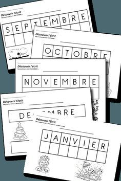 découvrir l'écrit MS mois de l'année                                                                                                                                                                                 Plus School Games, School Fun, French Worksheets, Kindergarten Language Arts, Abc Activities, French Classroom, Pre Writing, Teaching French, Beginning Of School