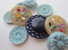 Vintage Buttons  Cottage chic  special  pierced by pillowtalkswf, $6.95