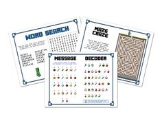 Printable Minecraft Activity Pages! Set of 10 Minecraft games, puzzles, mazes and more, for party favors & activities. Minecraft Printable.