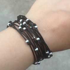 Leather & seed bead bracelet