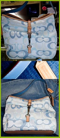 """Genuine Coach Bag. Classic print in Denim and Blue. 14"""" wide. Mint condition"""