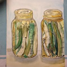 I made my own pickles and am feeling pretty proud.. Let's hope they are not disgusting! #paintingaday #painting #dailypainting #watercolor #illustration #instaart #instaartist #pickles #bonappetit #bonappetitmag #foodillustration #food #foodprojectcsa