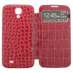 Crocodile Skin Leather Battery Back Cover with Flip Call Display Case for Samsung Galaxy S4 i9500 - Hot Pink US$8.99