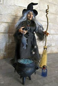 witch doll images   OOAK Miniature Doll Witch with Rat Scale 1 12 for Dollhouses   eBay