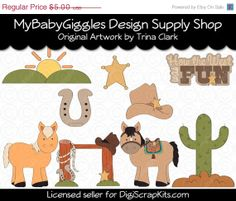 50 OFF SALE Western Fun 1 Country Clip Art by mybabygiggles, $2.50