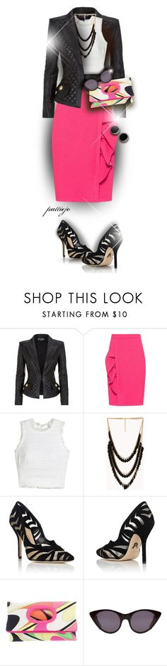 """""""Let's wear Fushsia!"""" by rockreborn ❤ liked on Polyvore featuring Balmain, Boutique Moschino, Rebecca Taylor, Forever 21, Paul Andrew, Emilio Pucci, Opening Ceremony and First People First"""